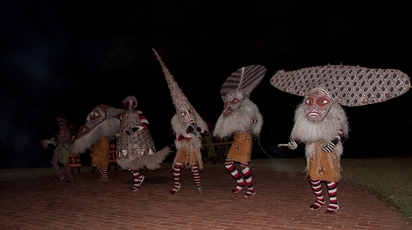 'Makishi' dancers are all men and wear various masks - each 'makishi' has a different function