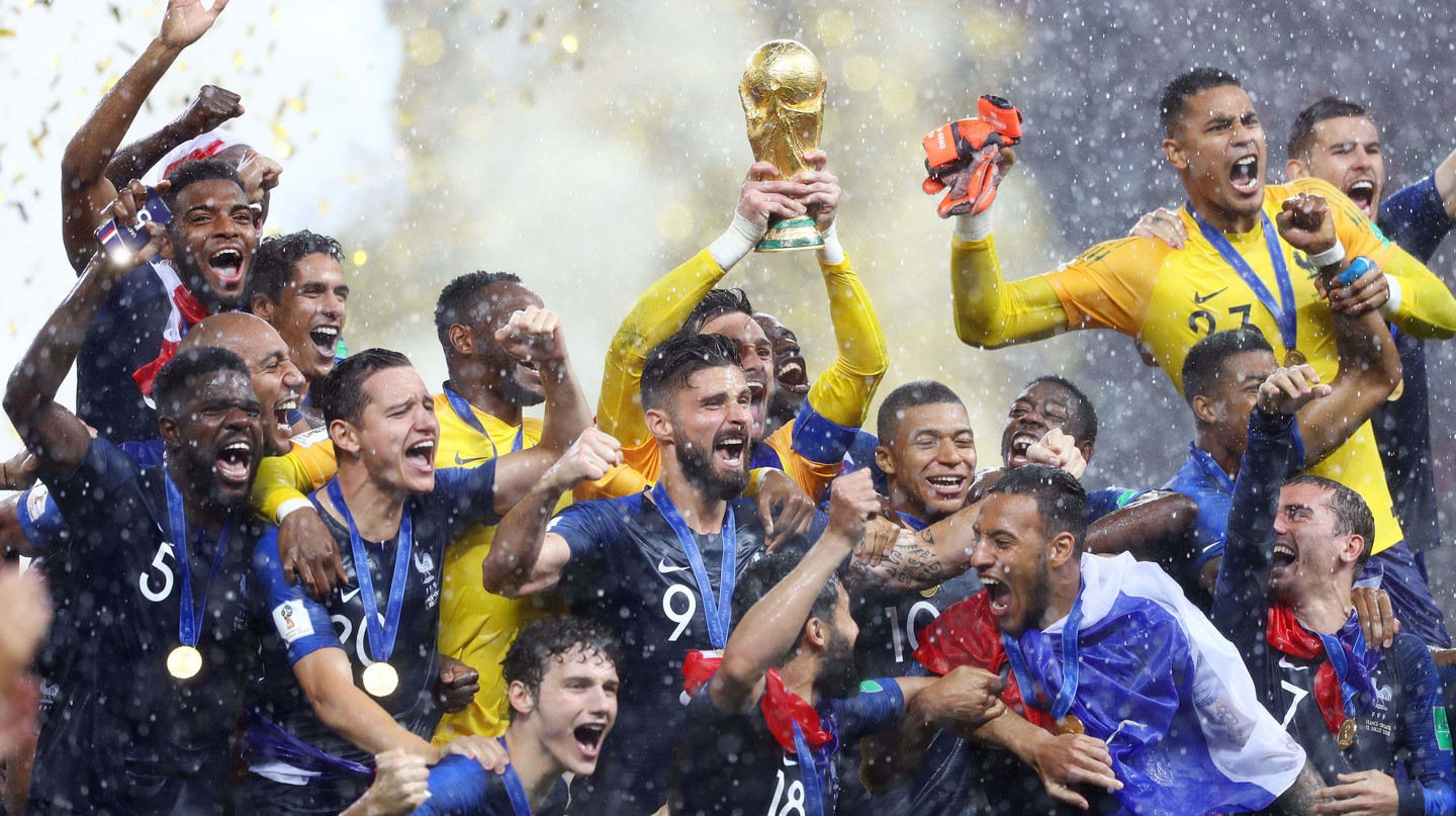 France celebrate winning the 2018 World Cup in Russia