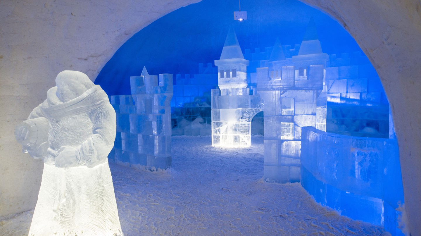 Collection of ice sculptures at the Kemi Snowcastle, Lapland.