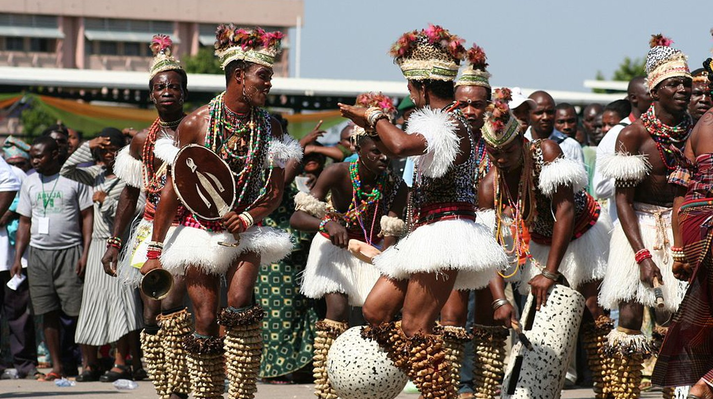 Traditional male dancers from northern Nigeria