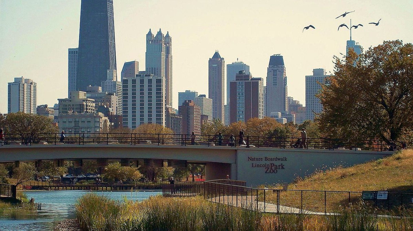 Chicago's Lincoln Park Nature Boardwalk in fall.