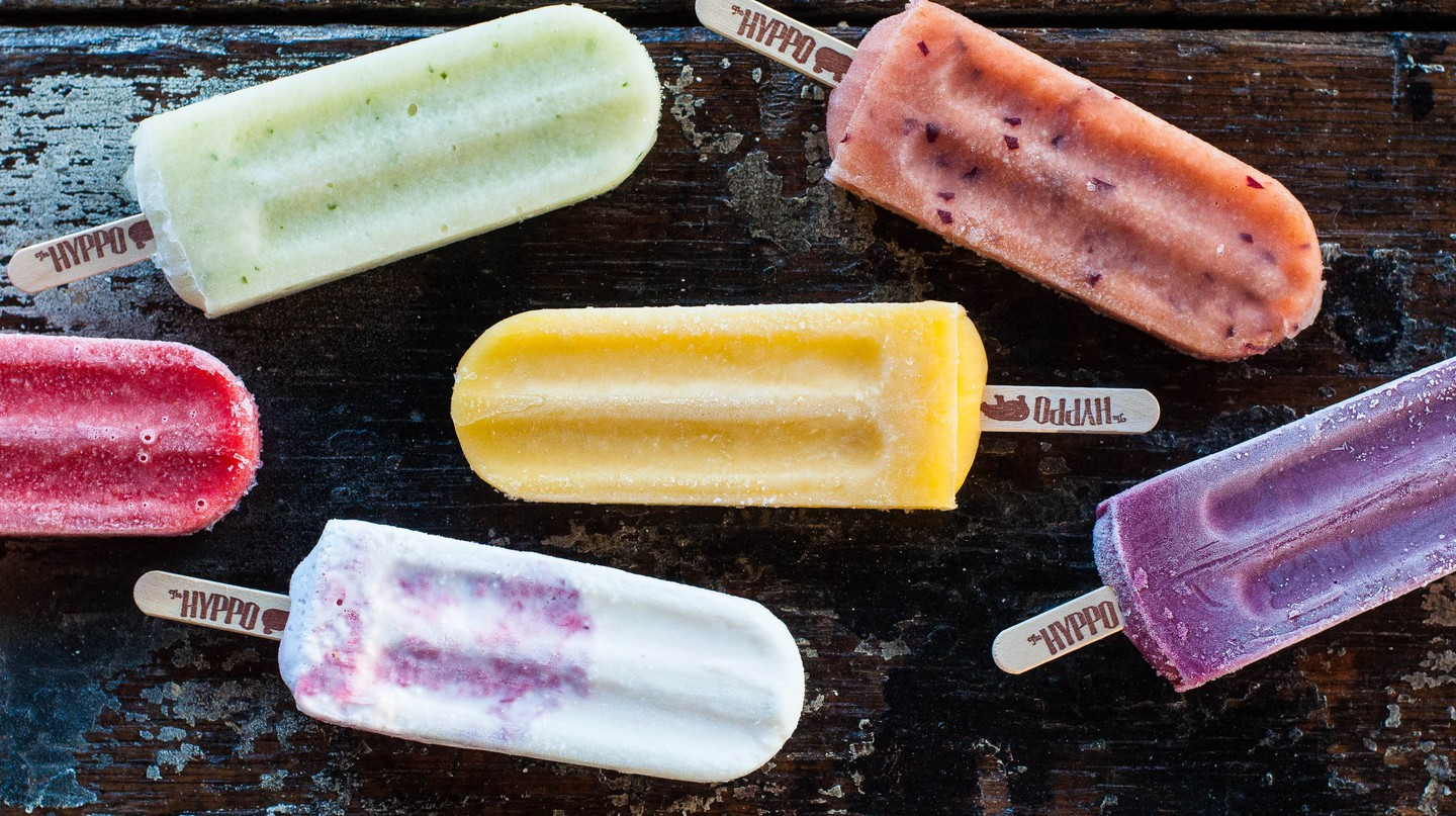The brightly colored popsicles come in flavors like chocolate cheesecake and mango chia
