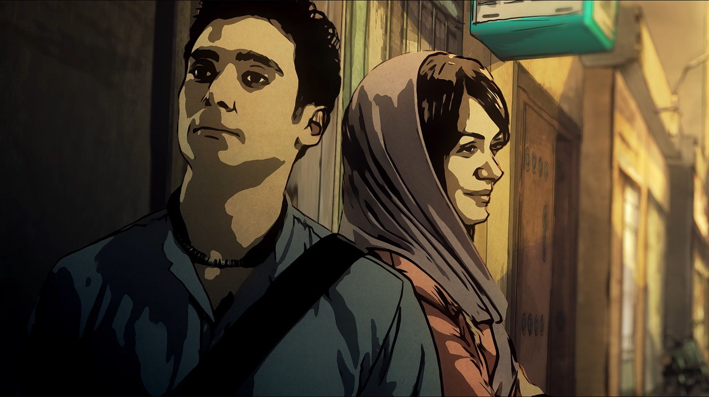 Babak and Donya in the street, from 'Tehran Taboo'