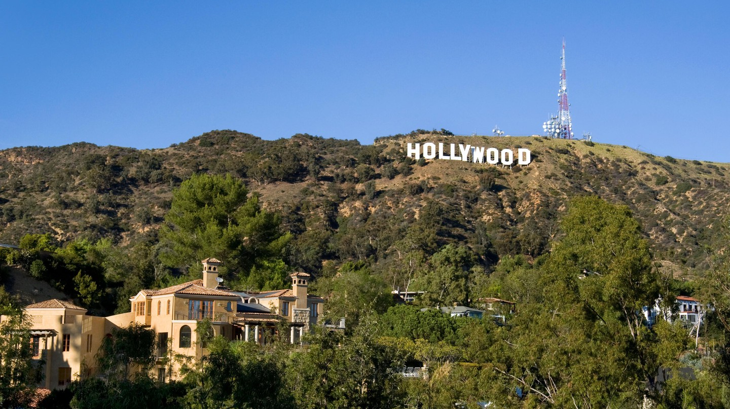 The Hollywood Sign sparkles on a clear day