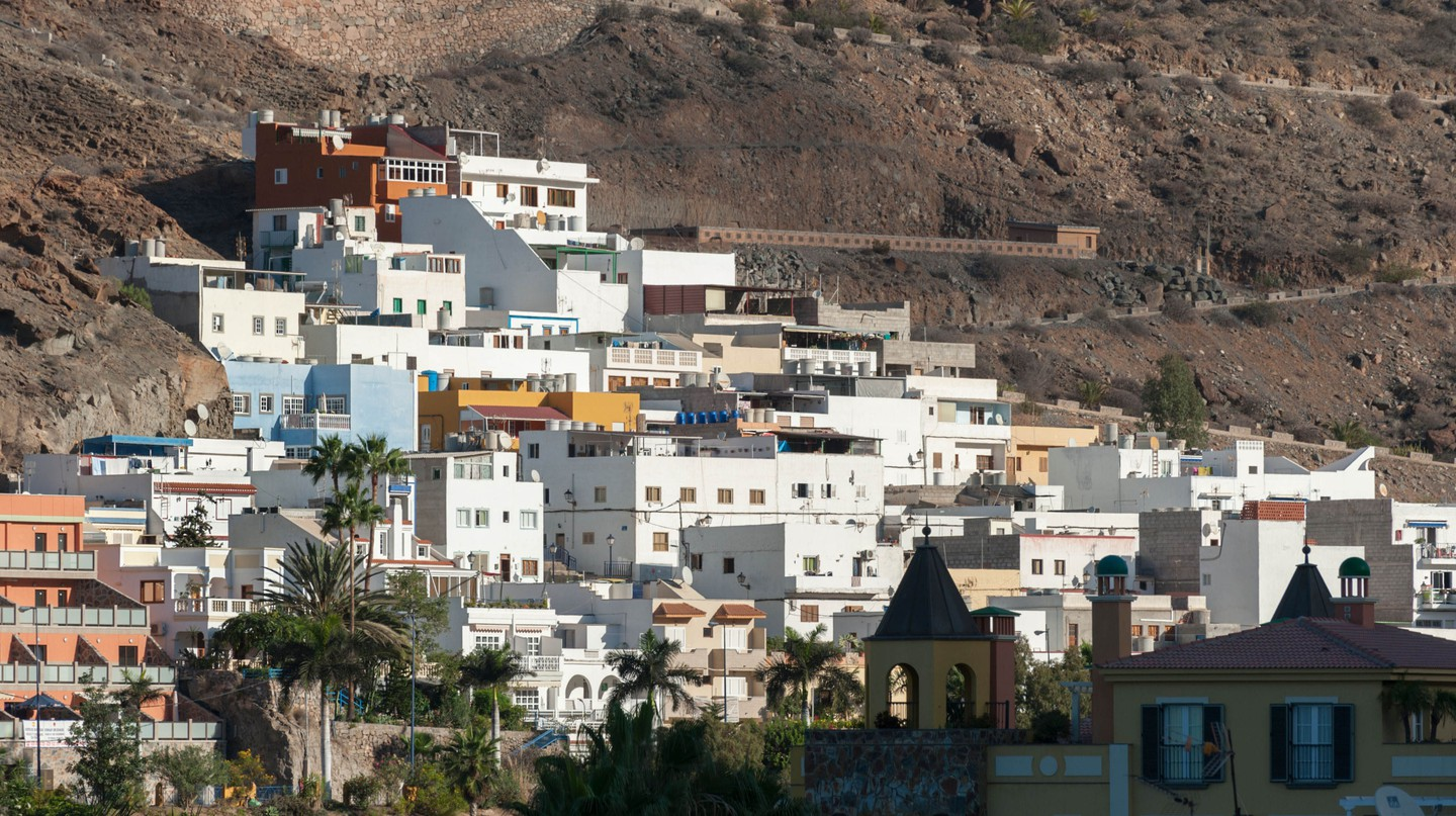 Housing development at Puerto Mogan, Canary Islands, Spain.