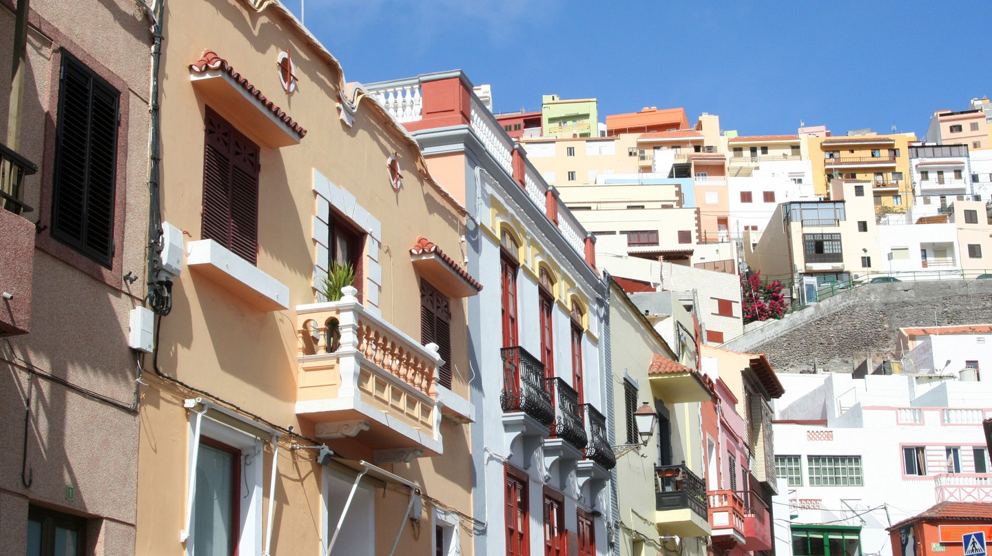 Colourful buildings in Old town La Gomera, San Sebastian, Spain.