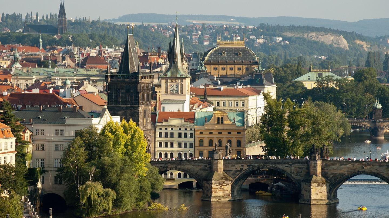 The Vltava River flows through the centre of Prague