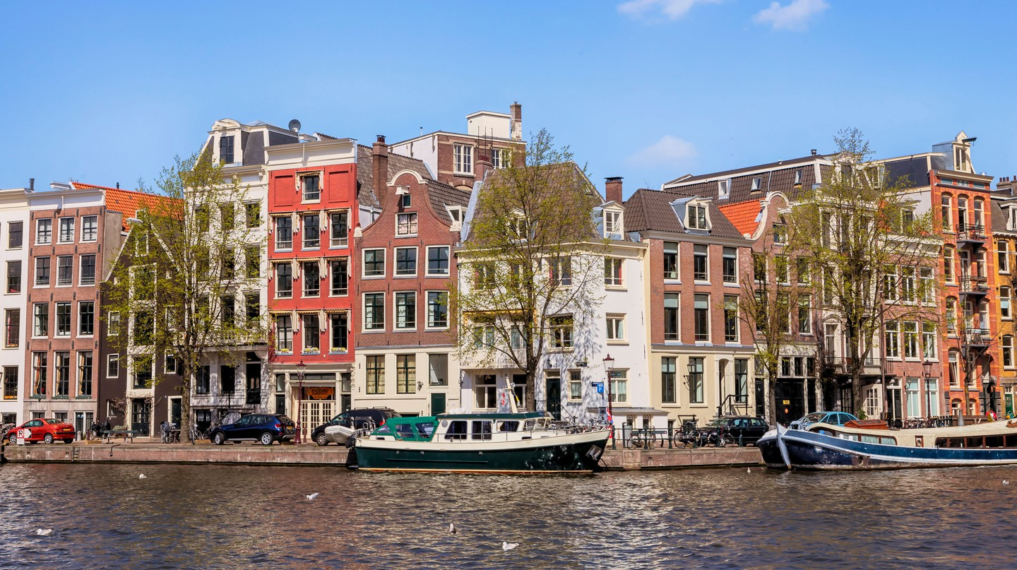 Houses at the Binnen Amstel in Amsterdam, North Holland, the Netherlands