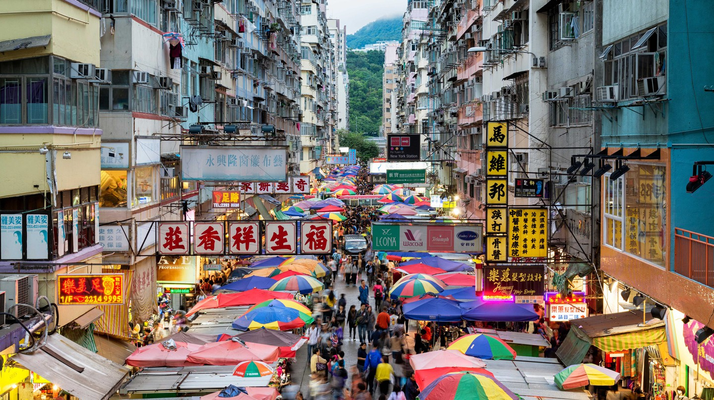 Fa Yuen Street in the Mong Kok area of Kowloon, Hong Kong, is filled with shops and markets
