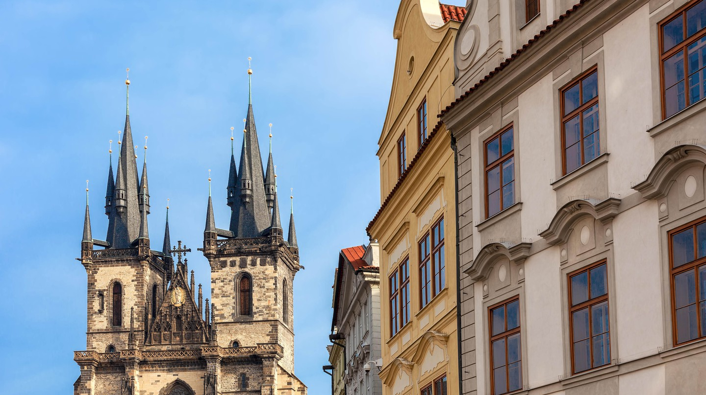 Typical architecture and Church of Our Lady Before Týn in Prague, Czech Republic