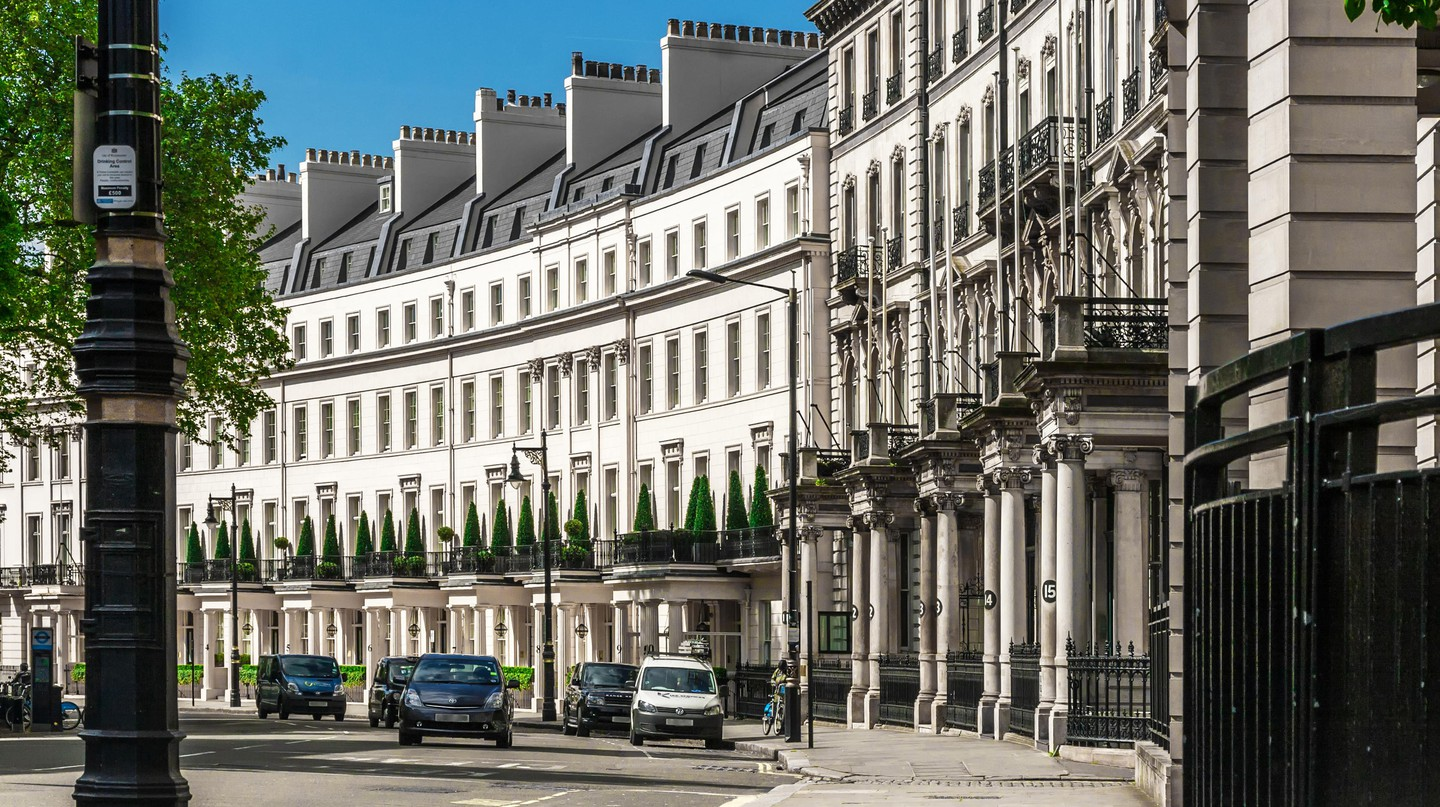 Traditional town houses at Belgravia district in London, England