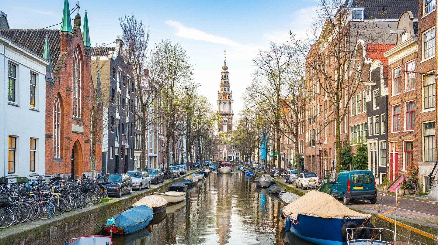 View of Canal House in Amsterdam, Netherlands.