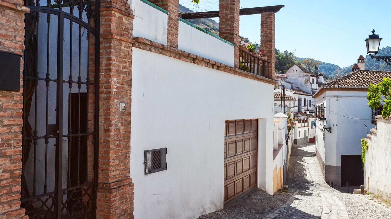 Typical street of the Albaicin, Granada, Spain.