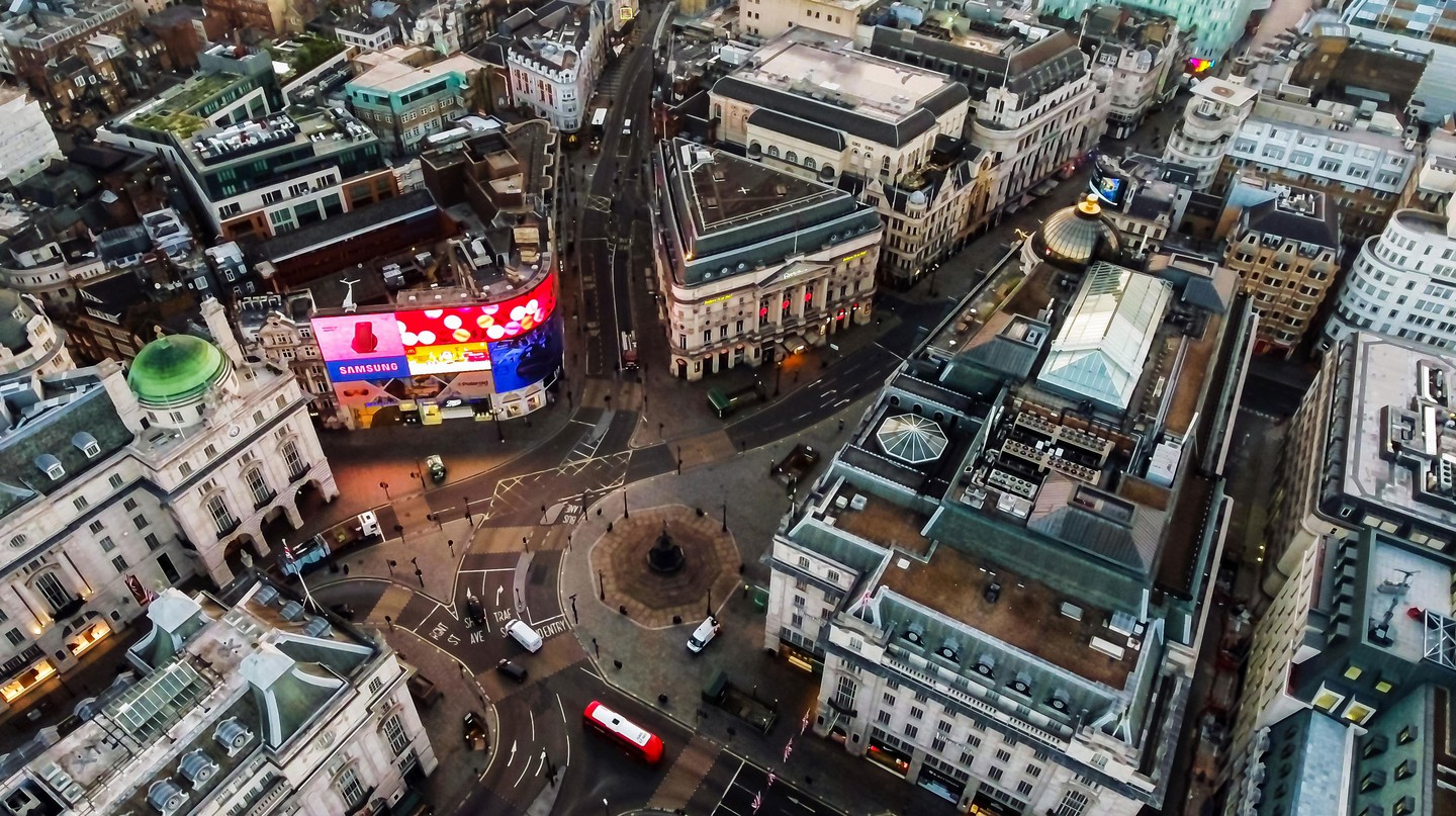 Aerial view of Piccadilly Circus in London