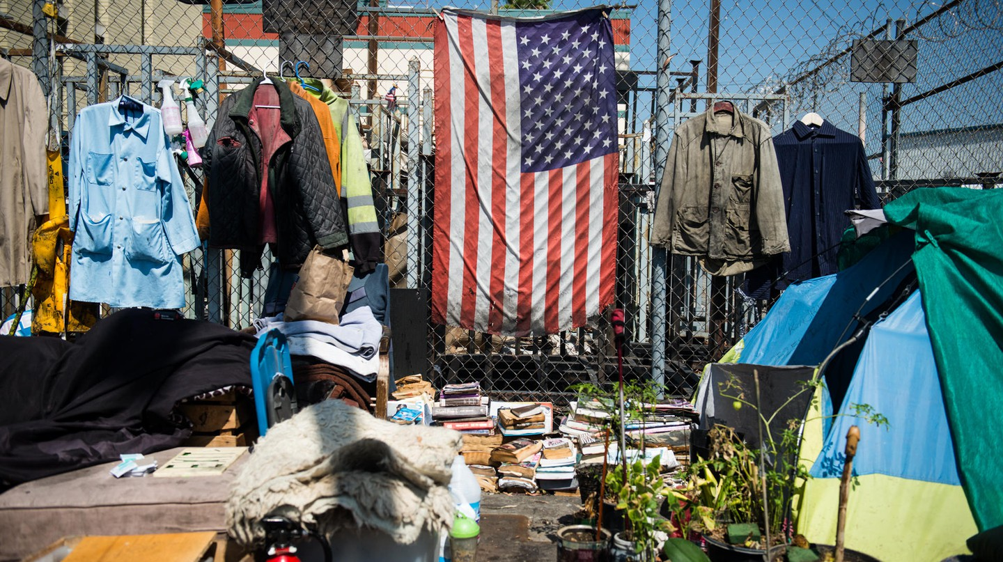 Skid Row is an area of 54 blocks in downtown Los Angeles with thousands of homeless individuals