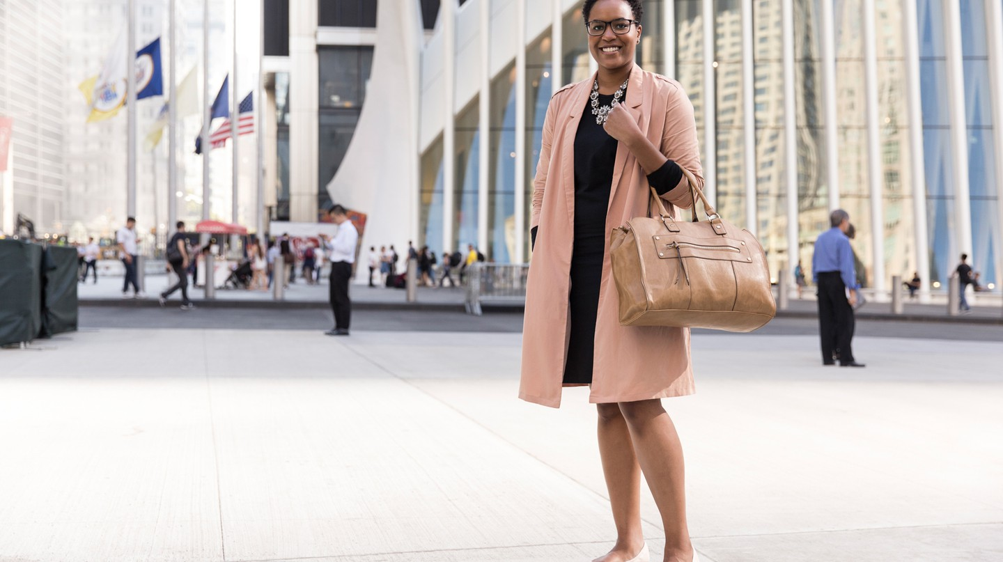 Spotted in the Financial District, this look defines a new era of power dressing