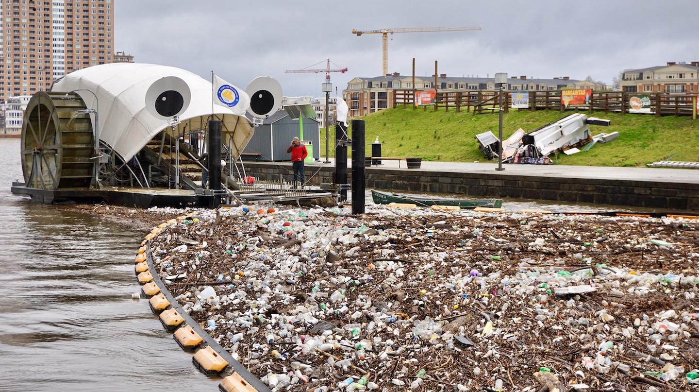 Mr Trash Wheel feasts on garbage in Baltimore's Inner Harbor.