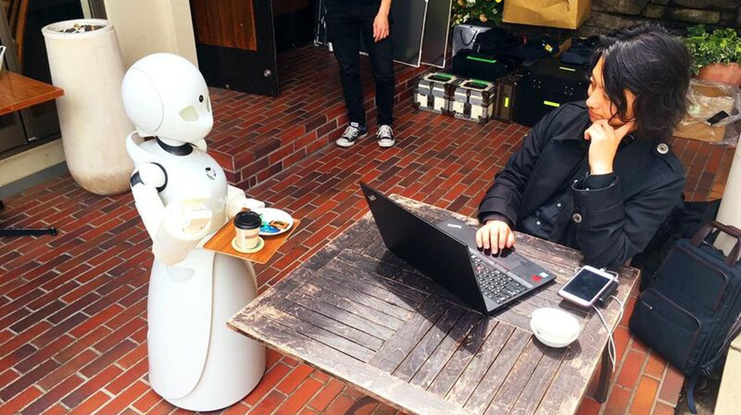 An OriHime Robot serves coffee | Courtesy of Orylab
