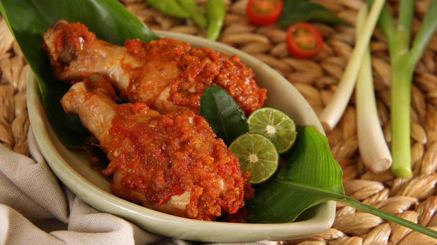 Ayam Rica-Rica. Traditional dish from Manado, braised chicken in spicy paste.