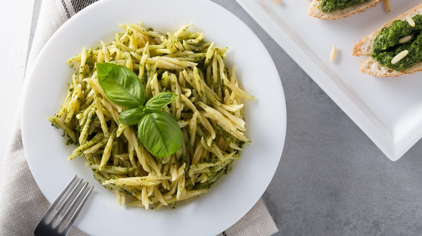 Trofie with pesto sauce is a classic dish from Genoa