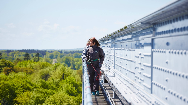 Walk above Lillebælt Bridge in Denmark
