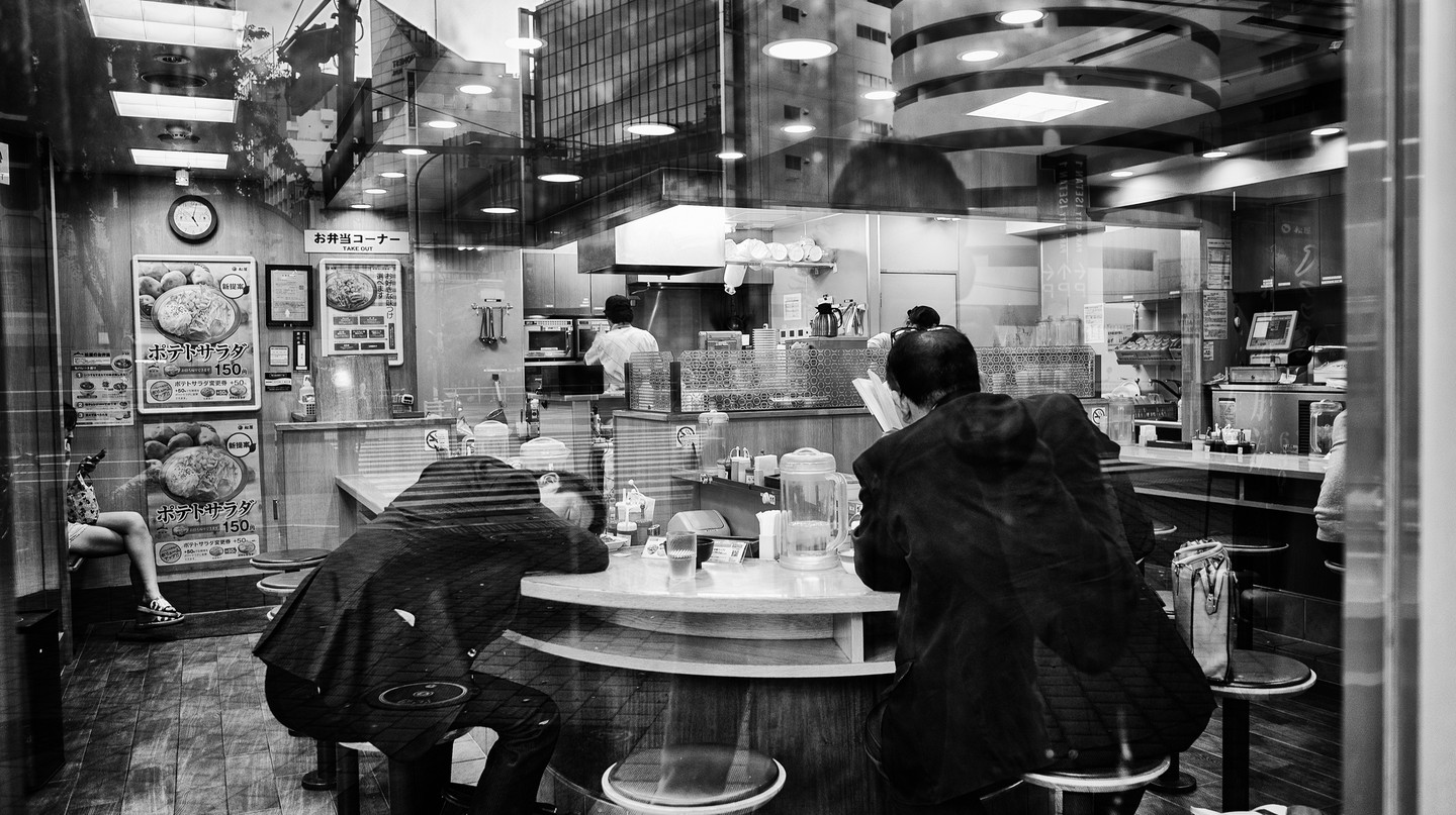 Salarymen passed out in a café in Shinjuku at 5am