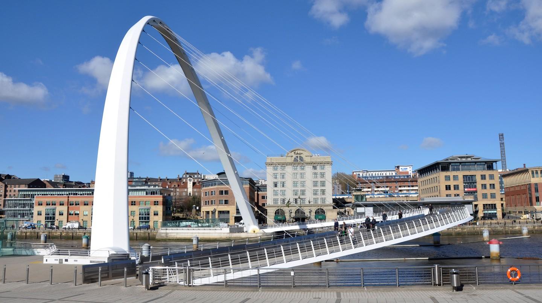 Millennium Bridge in Newcastle quayside