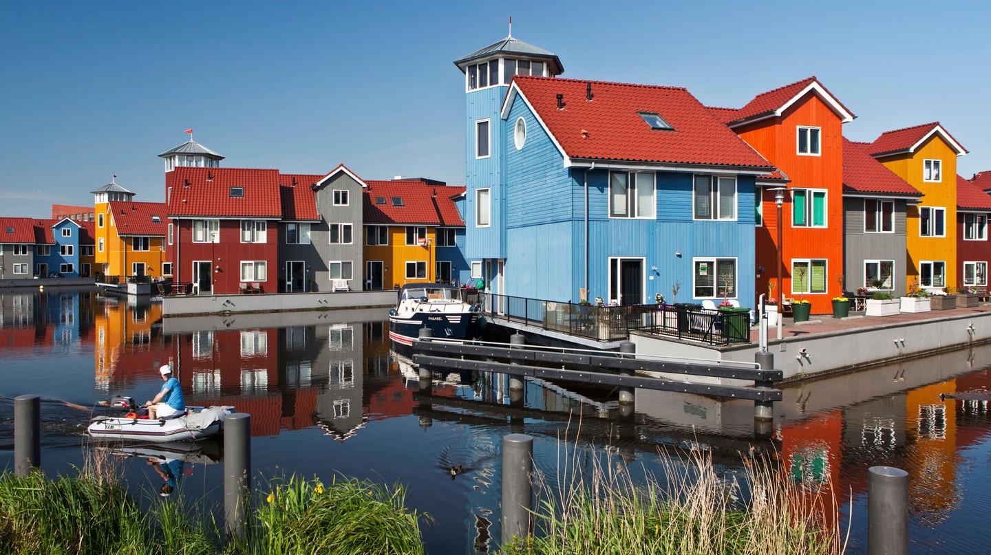 Colourful residential houses and marina called Reitdiephaven, Groningen, the Netherlands