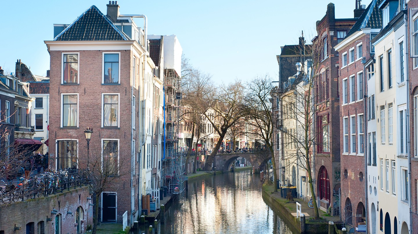 A canal runs through the old town of Utrecht