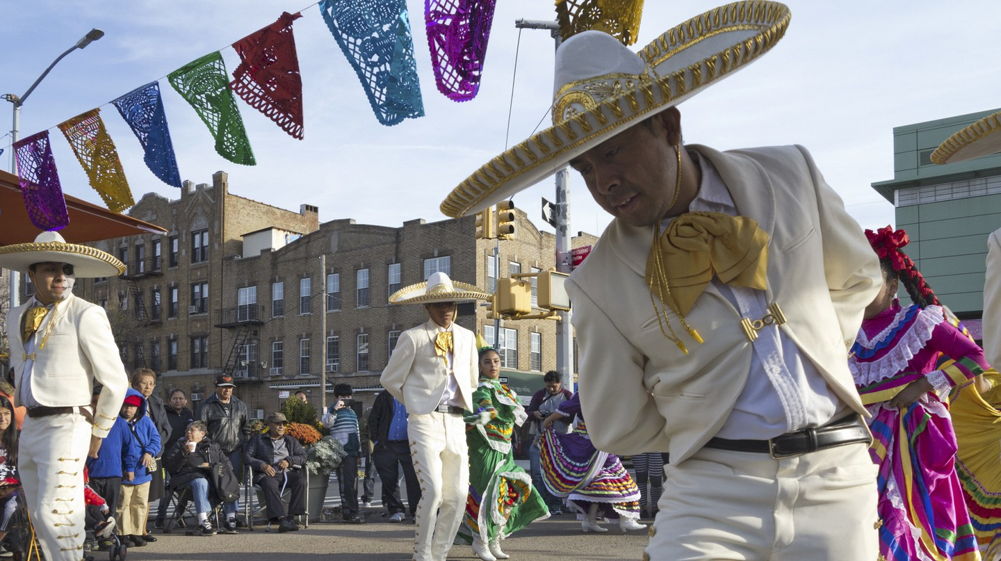 Mexican folkloric dancers at First Annual Day of the Dead Celebration in the Kensington section of Brooklyn, New York