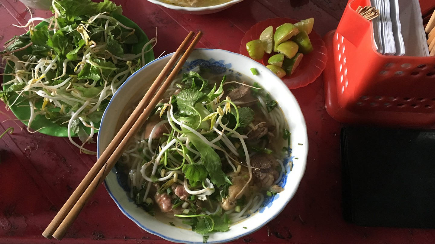 Bun bò Huế and its garnishes