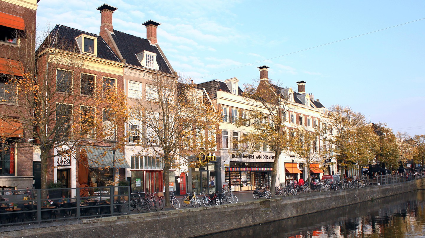 The historic Nieuwestad canal in the centre of Leeuwarden, Friesland, the Netherlands