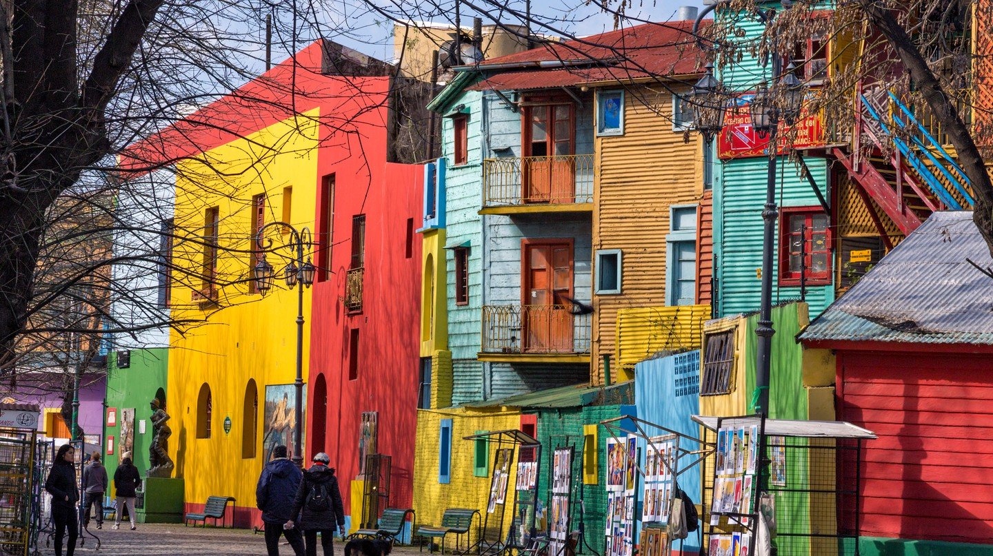 Caminito is street museum that comprises colorful painted houses in Buenos Aires
