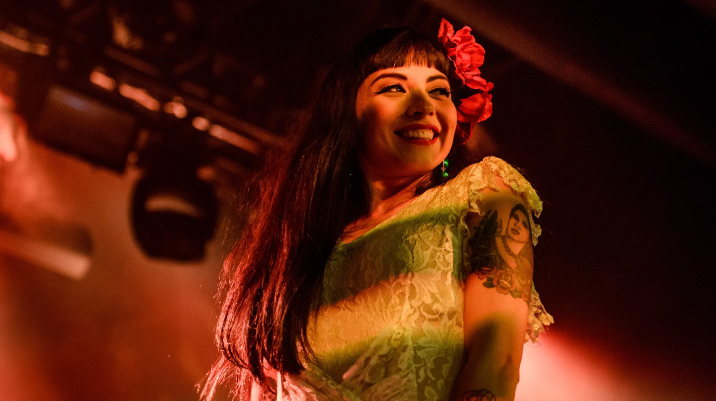 Mon Laferte smiles during a concert in 2016 in Las Vegas