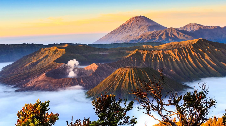 The Bromo volcano at in sunrise, Indonesia.