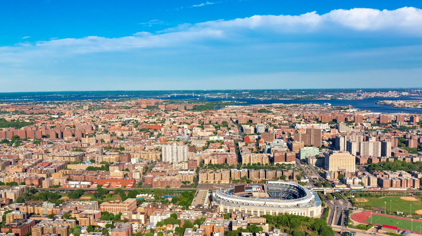 An aerial view shows off the Bronx, New York City, on a sunny day