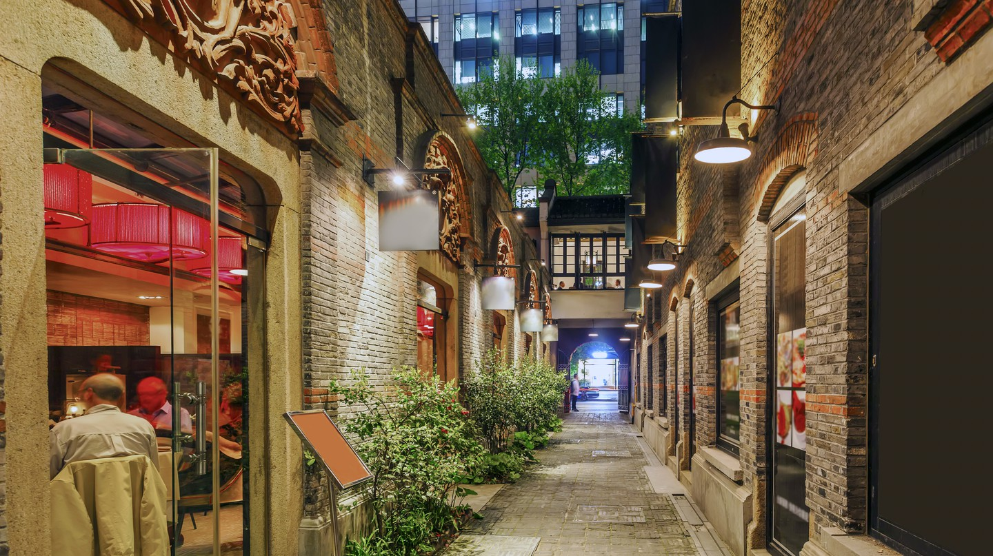 Xintiandi with bar and restaurants in Shanghai