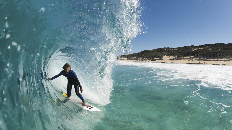 Surfing at Boodjidup Beach, Margaret River