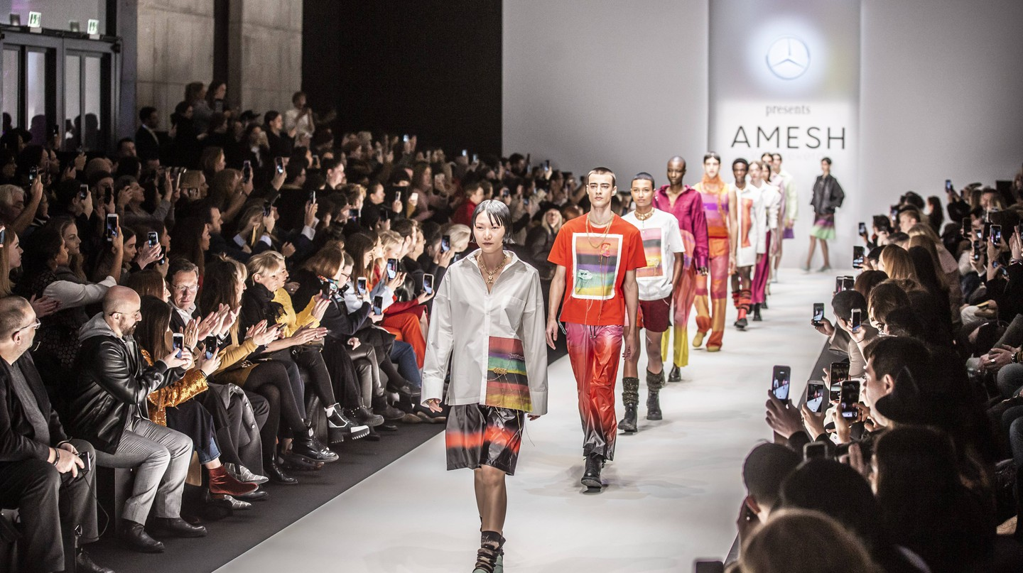 Designer Amesh Wijesekera showcases his work at Mercedes-Benz Fashion Week in Berlin Autumn/Winter 2019