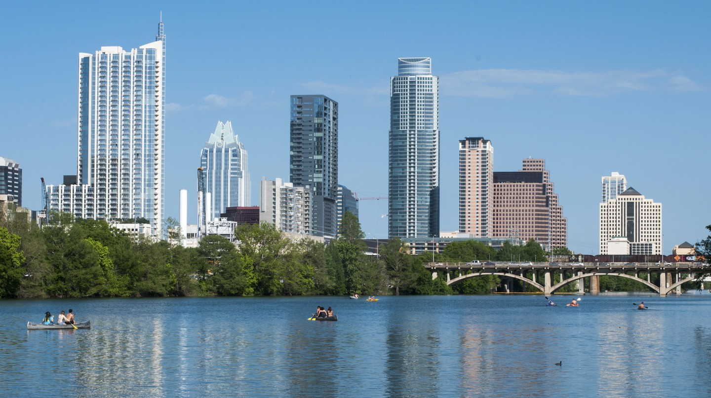 The Austin skyline is dazzling on a sunny afternoon
