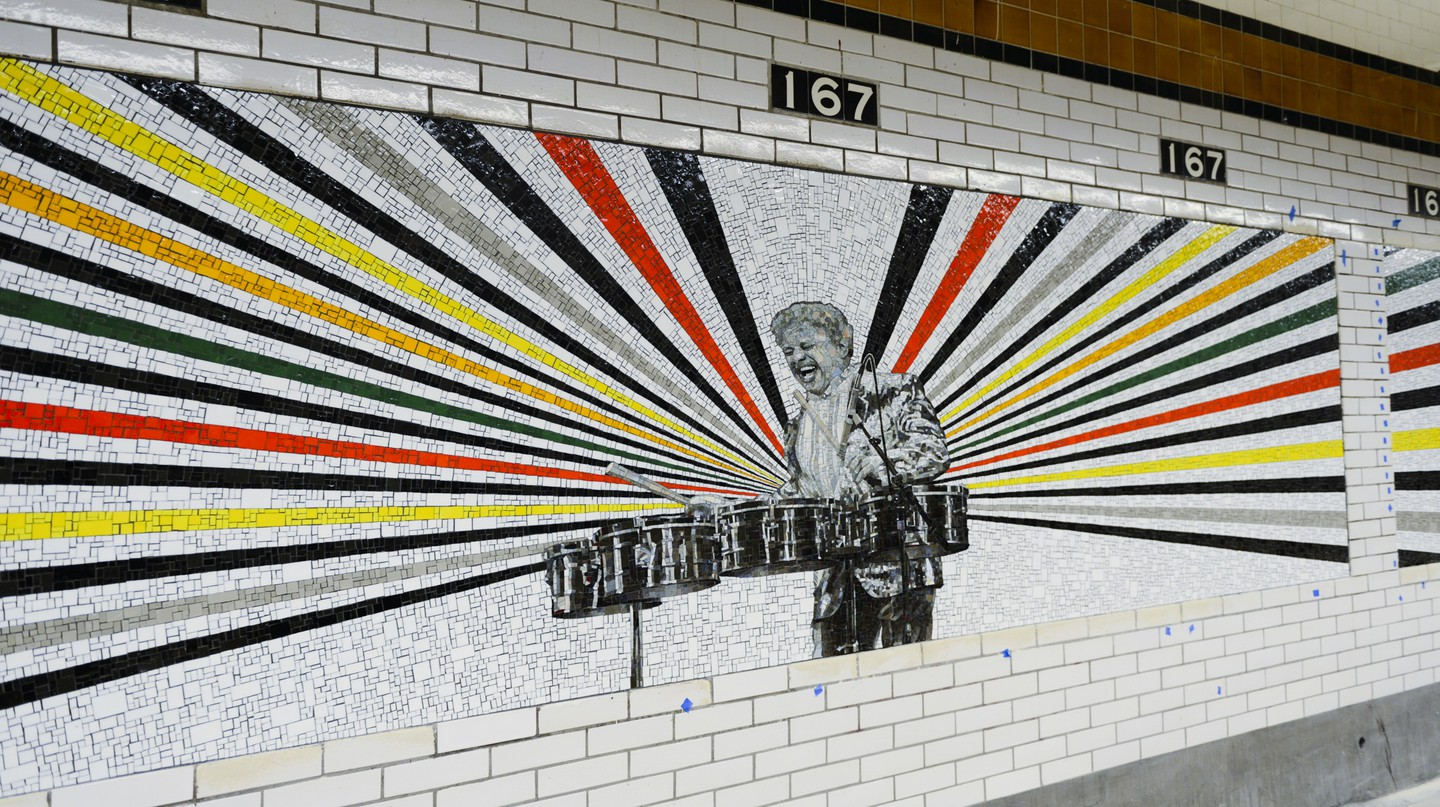 No one in the subway system is having as much fun as Tito Puente. Artwork copyright Rico Gatson