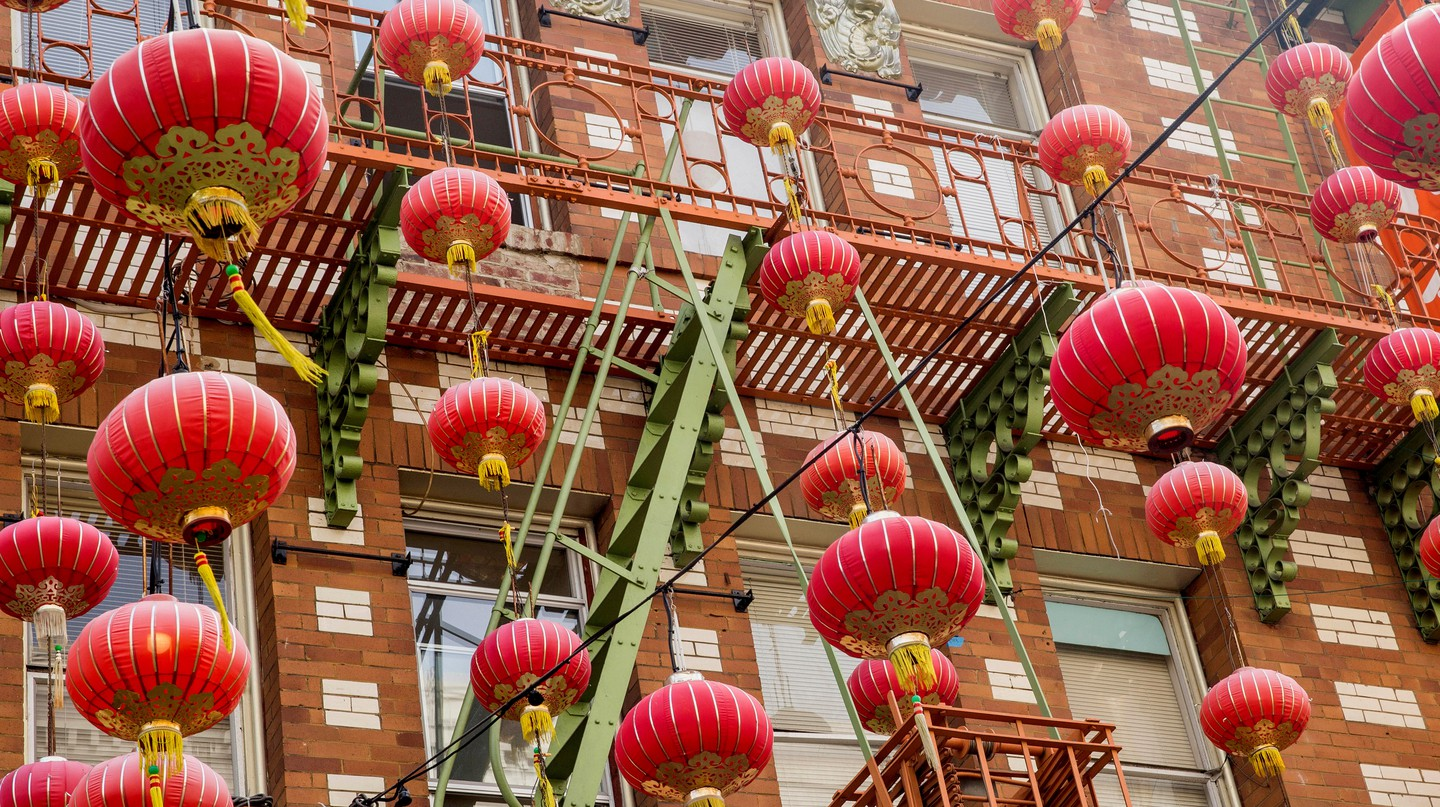 Lanterns hang outside a building on Grant Street in Chinatown, San Francisco