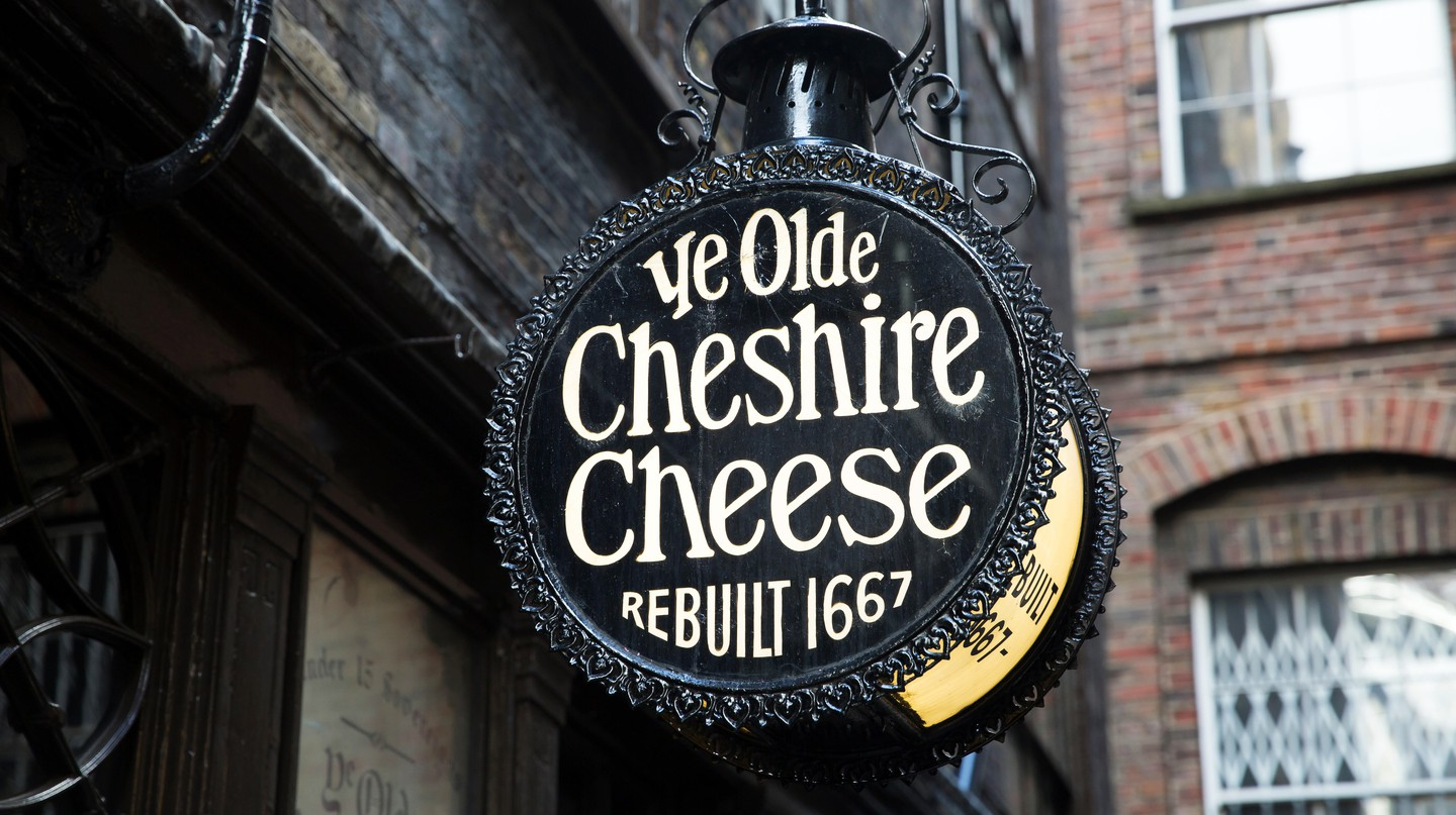 Ye Olde Cheshire Cheese is located on Fleet Street in London