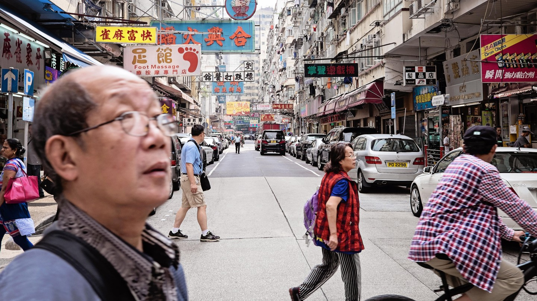 Street scene in Mong Kok, Hong Kong