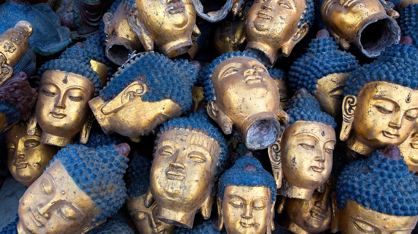Sculptures are on display at the Panjiayuan Antique Market in Beijing