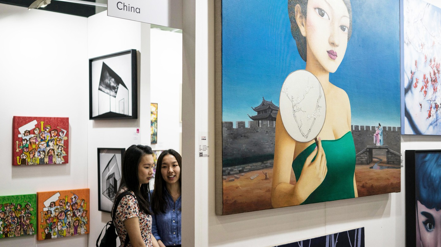 Visitors exploring the exhibits at the Affordable Art Fair in Hong Kong