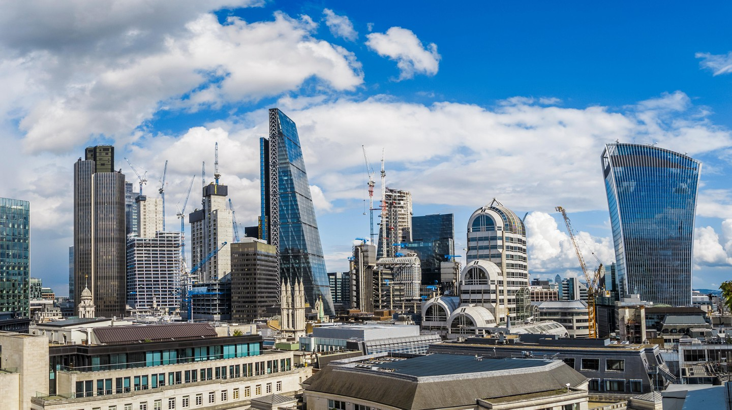 Glass and steel skyscrapers loom large over the City of London, the British capital's historic centre