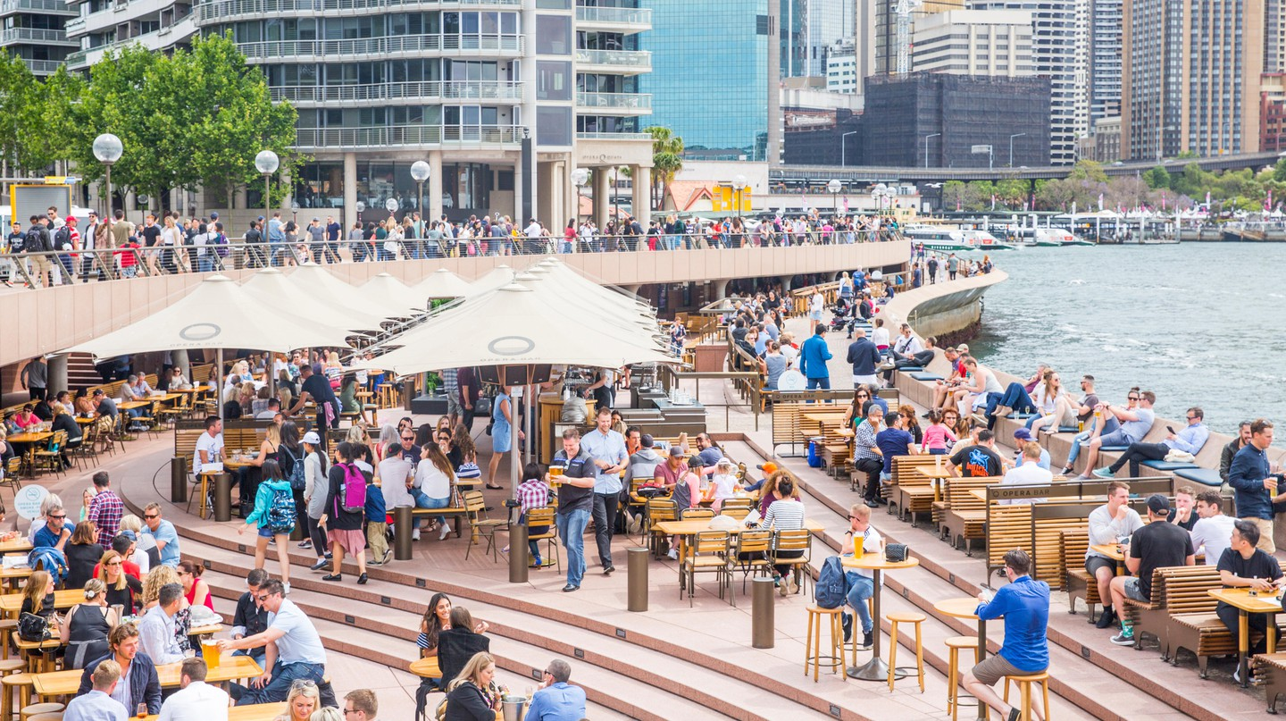 People enjoying food and drink at the Circular Quay in Sydney