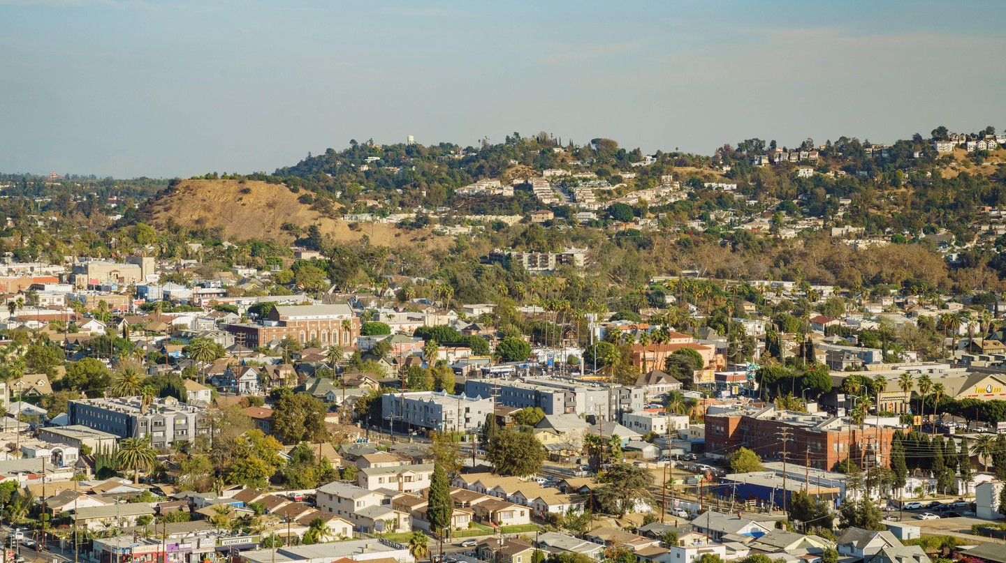 Aerial view of Highland Park, Los Angeles, California