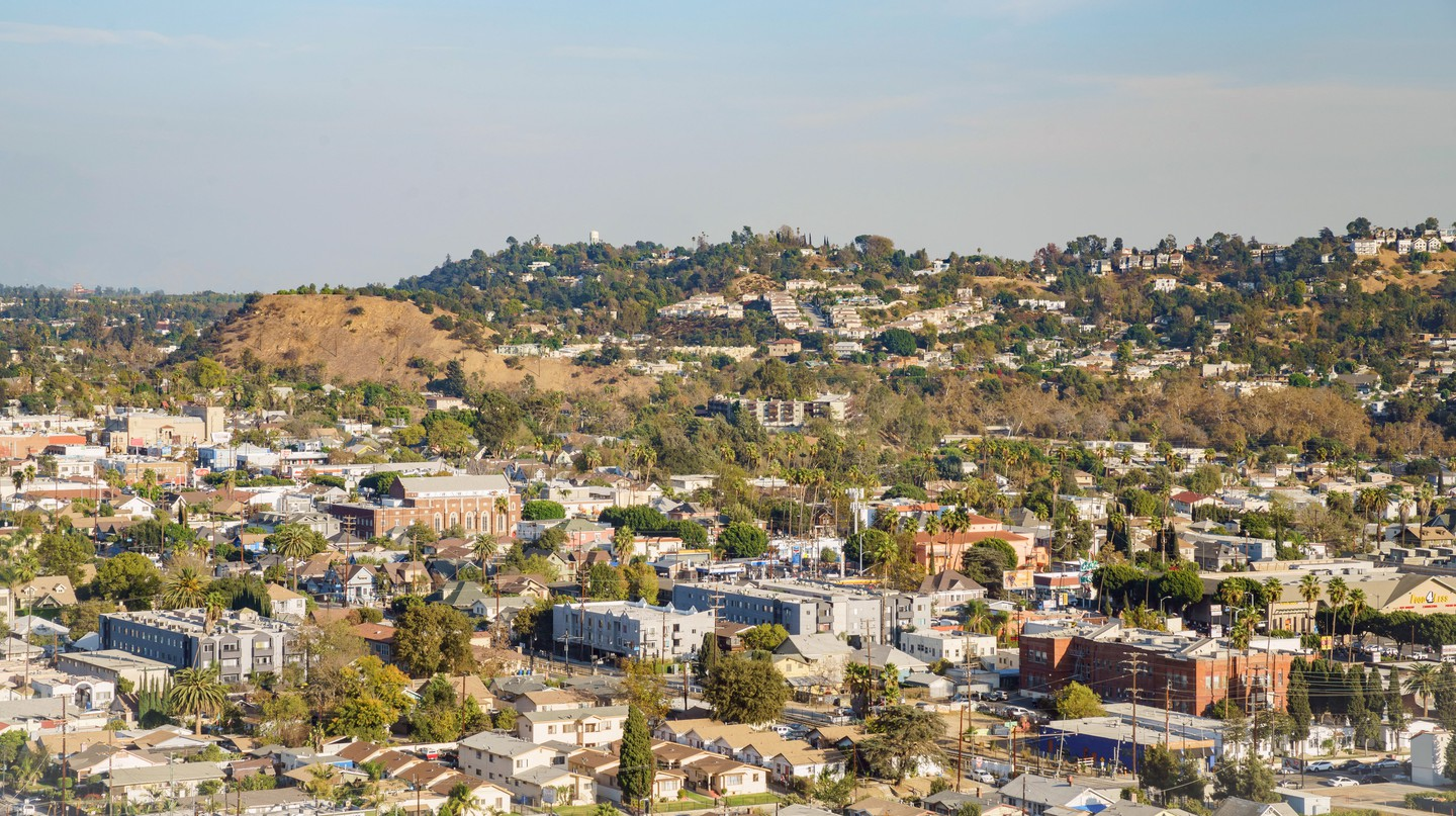 Aerial view of the cityscape of Highland Park, Los Angeles, California, USA.